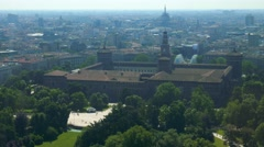 Milan aerial view of sforza castle and park Stock Footage