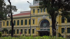 Saigon Central Post Office designed by Gustave Eiffel Stock Footage