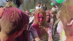 SAINT-PETERSBURG, RUSSIA - MAY 3, 2016. Holi Festival of colors Stock Footage