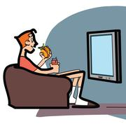 Viewer with fast food on couch Stock Illustration