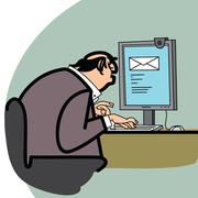 Businessman and a letter in the computer Stock Illustration