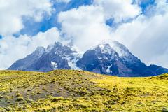 Lanscape of snow mountain in Torres Del Paine National Park - stock photo