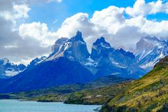 View of Cuernos Del Paine at Lake Pehoe Stock Photos