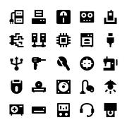 Electronic Vector Icon Set - stock illustration
