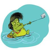 Frog selfie with a smartphone - stock illustration