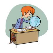 Geography, Student boy looking globe Stock Illustration