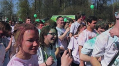 Holi Festival of colors. People dancing synchronously - stock footage