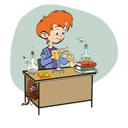Chemistry, boy schoolboy pours vials - stock illustration