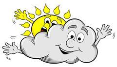 cartoon sun and cloud make overcast sky - stock illustration