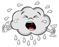 crying cartoon rain cloud - stock illustration