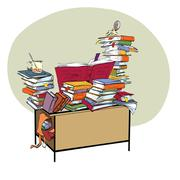School Desk with books, literature and the library Stock Illustration