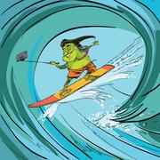Surfer frog selfie wave Stock Illustration