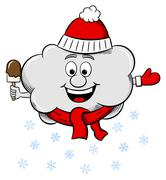 Snow cloud with scarf and hat Stock Illustration