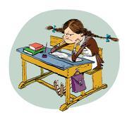 Angry schoolgirl in school Stock Illustration