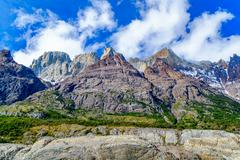 View of mountain in the Torres del Paine National Park - stock photo
