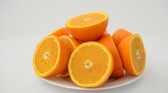 Oranges on a white background. Stock Footage