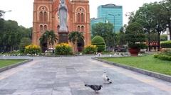 Timelapse view of Saigon Notre-Dame Basilica Stock Footage