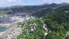 Long panoramic over town in mountain - stock footage