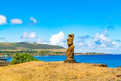 Hanga Kio e Ahu Akapu in Rapa Nui National Park - stock photo
