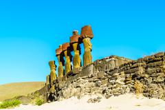 Moai at Ahu Nau Nau - stock photo