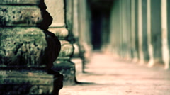 ancient dark corridor in angkor wat, focus movement - stock footage