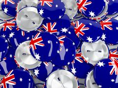 View from above on stack of button badges with flag of Australia. 3d render Stock Illustration