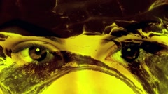 Vj Loops Eyes Yellow Lava Background Stock Footage