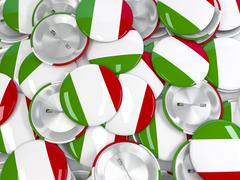 View from above on pile of button badges with flag of Italy. 3d render Stock Illustration