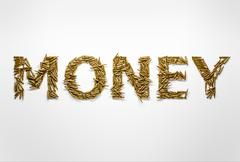 Concept of money made on war and conflicts. Word money typed with font made o - stock illustration