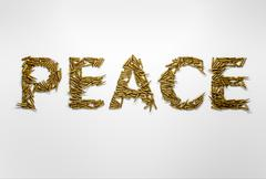 Concept of peace. Word Peace typed with font made of bullets - stock illustration