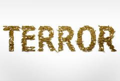Concept of terrorism. Word Terror typed with font made of bullets - stock illustration