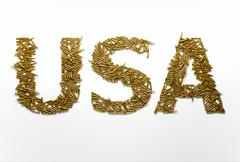 Concept of USA military aggression. Word USA typed with font made of bullets Stock Illustration