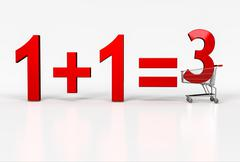 Concept of buy two - get on free. Big red sign of 1+1=3 in shopping cart on w - stock illustration