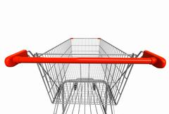 Closeup wide angle image of shopping cart rear view on white isolated backgro Stock Illustration