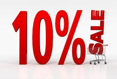Shopping cart with ten percent discount sign on white background. 3D render - stock illustration
