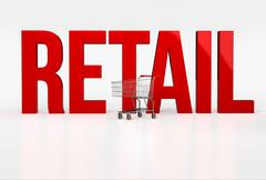 Big red word retail on white background next to shopping cart Stock Illustration