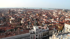 High angle panning view of historical building roof over Venice city in Italy Stock Footage