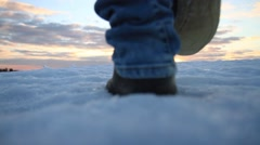 young man got to the top of the mountain - stock footage