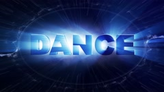 DANCE Text Animation and Particles Rings, 4k Stock Footage