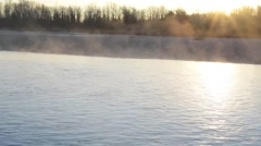 Mist rising from the river Stock Footage