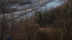 Tagliamento river at dawn in winter Stock Footage