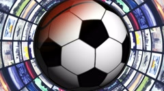 SPORTS BALLS and Monitors Tunnel, Loop, 4k Stock Footage