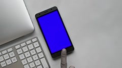 Black and white smartphone bluescreen Stock Footage
