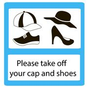 Please take off cap and shoes signs Stock Illustration