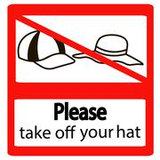 Please take off cap signs Stock Illustration