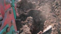 Plow Turning Fertile Soil Stock Footage