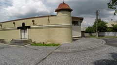 Ancient tomb of the four martyrs (aerial view) located in Lesser Scythia,Romania Stock Footage