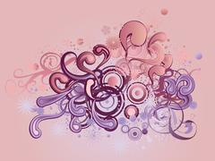 Ornament with floral and circles - stock illustration