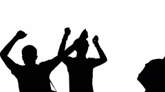 Silhouette of Dancing Crowd people - stock footage