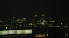 4K View of the London city skyline at night - stock footage